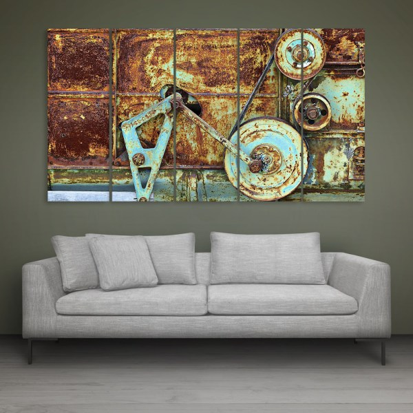 Multiple Frames Old Machine Wall Painting for Living Room