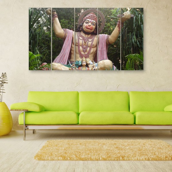 Multiple Frames Beautiful Lord Hanuman Wall Painting for Living Room