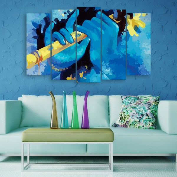 Multiple Frames Beautiful Krishna Flute Wall Painting for Living Room