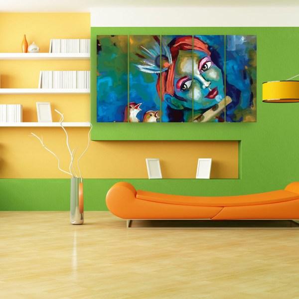 Multiple Frames Beautiful Krishna Art Wall Painting for Living Room