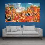 Multiple Frames Mahabharata Wall Painting for Living Room