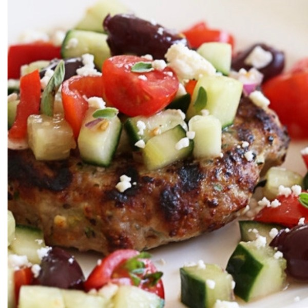 greek salad chicken burger