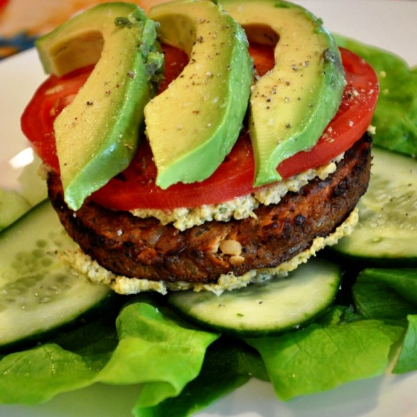 gourmet veggie burger meal