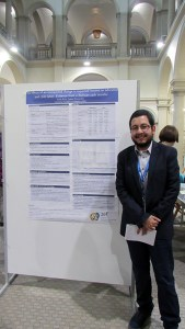 Pablo Evia in the poster session of the 2017 PEGNet Conference.