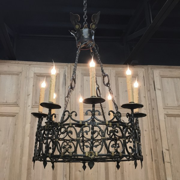 Antique Country French Wrought Iron Chandelier Inessa