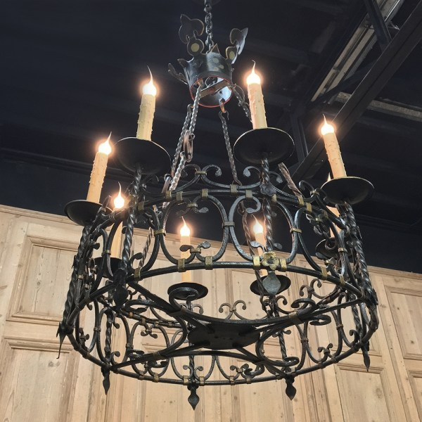 Antique Country French Wrought Iron Chandelier - Inessa
