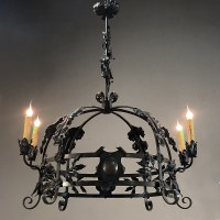 Antique Italian Wrought Iron Chandelier