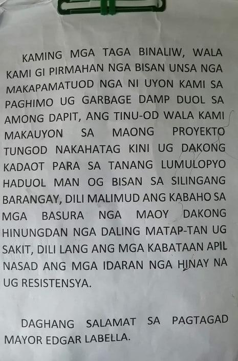 Binaliw Landfill protest