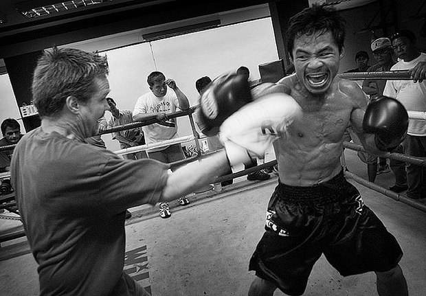 Pacquiao with his trainer Freddie Roach