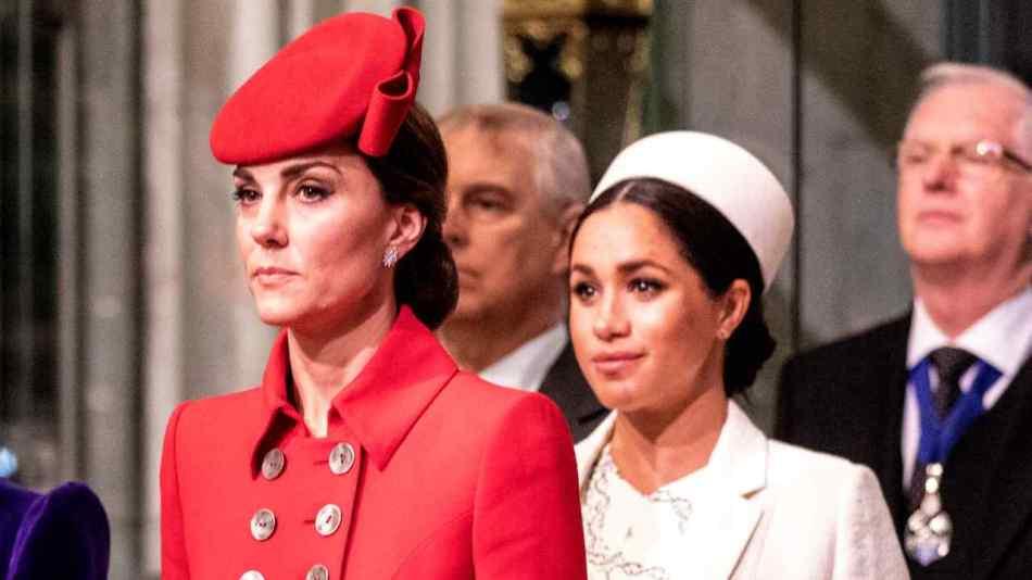 Kate Middelton, Duchessa di Cambrige, con Meghan Markle, Duchessa di Sussex. Anno 2019 (foto di Richard Pohle - WPA Pool/Getty Images).