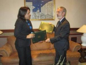 Minister of Foreign Affairs of the Guyana, Carolyn Rodrigues-Birkett, and the Minister of External Relations of Brazil, Antonio de Aguiar Patriota