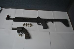 The weapons found by the police.