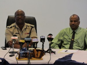 L - R: Police Commissioner Leroy Brumell and Crime Chief, Seelall Persaud.