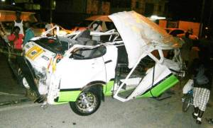 The mangled minibus after the accident. [Kaieteur News' Photo]