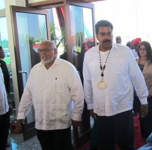 Presidents Donald Ramotar and Maduro arrive at the Conference Center. [iNews' Photo[
