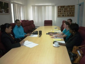 Minister Persaud and Guyana Forestry Commission Officer Pradeepa Bholanauth with team from the Guyana-Norway Independent Verification Mission for Redd+ Enabling Action