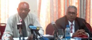 L -R: Cariforum's Director General Percival Marie and Tarachand Balgobin. [iNews' Photo]