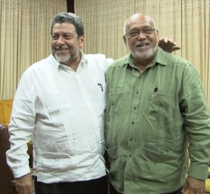 PM Ralph Gonsalves (left) and President Ramotar today at the Office of the President.