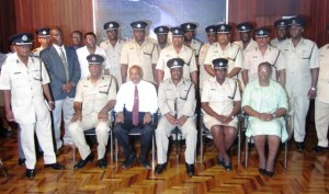 Police Commissioner Leroy Brumell (center) along with the top brass of the Guyana Police Force at the Office of the President, following his swearing in. [iNews' Photo]