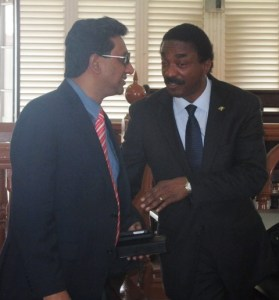 Attorney General (left) Anil Nandall and Attorney - at - Law, Basil Williams during the court hearing on Tuesday, October 22. [iNews' Photo]
