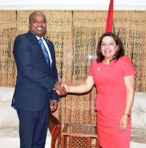 Haiti's Minister of Foreign Affairs Pierre Richard Casimir pays a courtesy call on Minister of Foreign Affairs, Carolyn Rodrigues-Birkett.