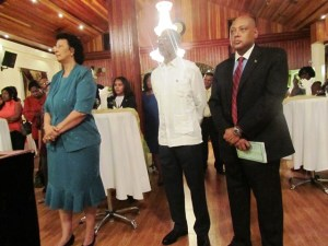 L - R: Dr Geerlings-Simons, Opposition Leader David Granger and Speaker of the National Assembly, Raphael Trotman during the reception.