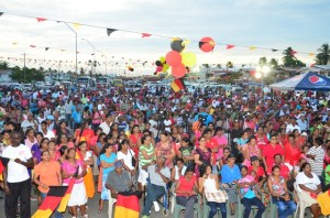A section of the gathering of PPP/C supporters at the Lusignan Market Tarmac, East Coast Demerara.