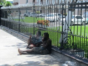 Some of the vagrants outside of Parliament Building. [iNews' Photo]