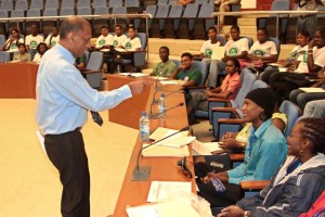 Agriculture Minister, Dr. Leslie Ramsammy addresses a youth workshop at the Caribbean Week of Agriculture (CWA).