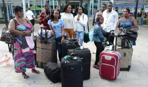 Some of the Jamaicans who  were turned away by immigration officials in Trinidad and Tobago.
