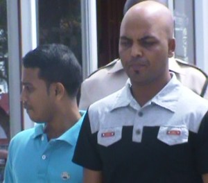 The two Bangladesh nationals at the Georgetown Magistrate's Court. [iNews' Photo]