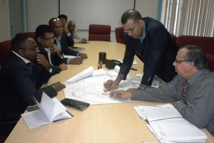 Environment Minister Robert Persaud during his meeting with Trinidad Food Production Minister, Devant Maharaj and technical team.