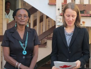 Administrator Cynthia Massay and Canadian High Commissioner Dr. Nicole Giles during the commissioning ceremony. [iNews' Photo]