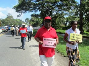 GPSU's President, Patrick Yarde leads the protest. [iNews' Photo]