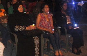 From L - R: Chairperson of  the ROCC, Aleema Nasir, First Lady Deolatchme Ramotar and Human Services Minister, Jennifer Webster at the vigil. [iNews' Photo]