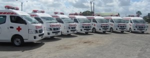 The ambulances which were donated to the various hospitals on Monday, January 27. [iNews' Photo]