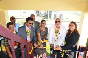 Attorney General Anil Nandlall, Chancellor of the Judiciary (ag) Justice Carl Singh, West Demerara Clerk of Court Haimwantie Singh, President Donald Ramotar and Chief Magistrate Priya Sewnarine-Beharry cut the ribbon to formally re-open the Leonora Magistrate's Court