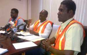 General Manager of the DHB, Rawlston Adams (center) flanked by other officials during the press conference. [iNews' Photo]