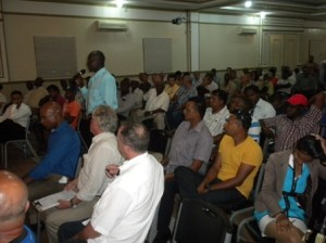 Some of the miners at the meeting.