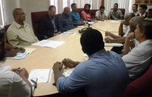 Minister of Natural Resources and the Environment Robert Persaud and Acting Commissioner, Guyana Geology and Mines Commission Rickford Vieira at the meeting with the quarry operators.
