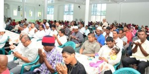 Worshippers on the occasion of Yoman Nabi at the Queenstown Masjid.
