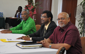 From L - R: APNU Leader, David Granger; Leader of the AFC, Khemraj Ramjattan and President Donald Ramotar.