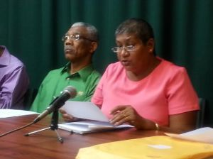 Rajcoomarie Bancroft (right) and Leader of the APNU, David Granger. [iNews' Photo]