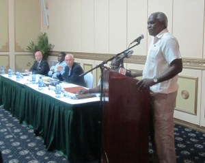 Public Works Minister, Robeson Benn during his remarks at the launch of the project. [iNews' Photo]