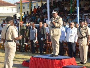 The final salute- outgoing Police Commissioner, Leroy Brumell being saluted by the Guard of Honour at the farewell parade at the Police Sports Club Ground, Eve Leary