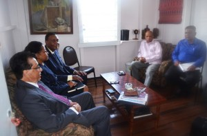 PPP/C General Secretary, and Home Affairs Minister Clement Rohee and PPP Executive Secretary Zulfikar Mustapha meeting with the Walter Rodney COI Commissioners.