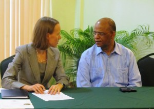 Canadian High Commissioner to Guyana Dr. Nicole Giles, and Home Affairs Minister, Clement Rohee. [iNews' Photo]