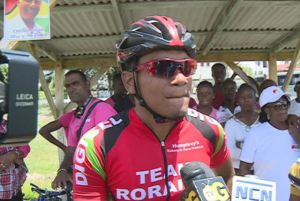Winner of the Cheddi Jagan Memorial Cycle Road Race, Alonzo Greaves. [iNews' Photo]