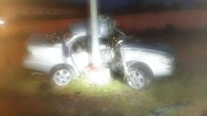 The driver of this car died after he slammed into a lamp post. [iNews Citizen Reporter's Photo]