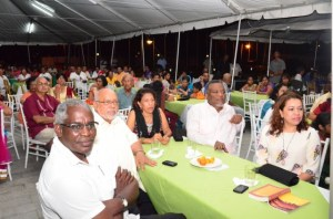 President Donald Ramotar, First Lady Deolatchmee Ramotar, Prime Minister Samuel Hinds, Minister of Public Works Robeson Benn and Minister of Foreign affairs Carolyn Rodrigues -Birkett at the chowtal samelaan at the Guyana International Conference Centre